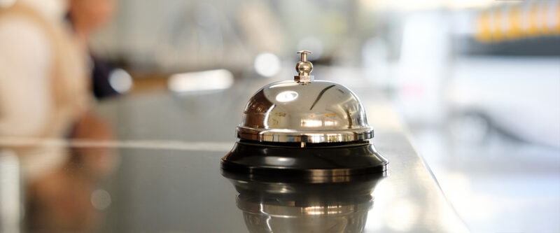 Hotel desk with bell