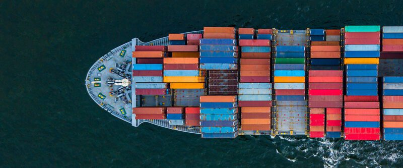 Cargo Ship picture taken from above
