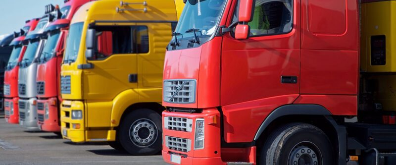 Wholesale International Transportation Insurance -Line up of Yellow and Red Trucks