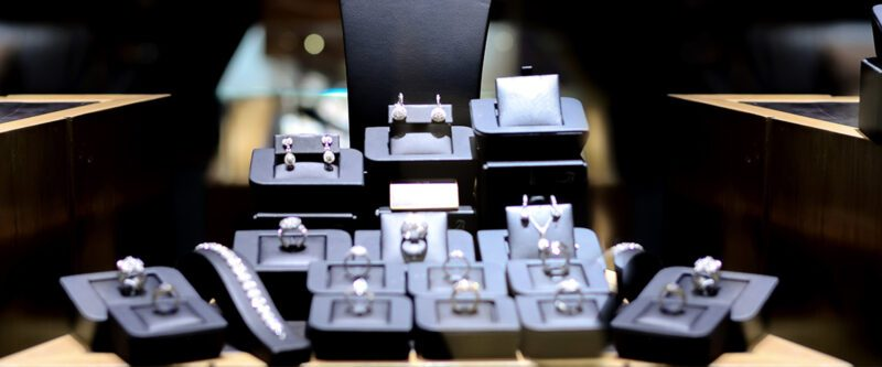 Jewellers Block Insurance - Jewelry Display on dark background